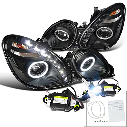 Gs300/Gs400/Gs430 Black Dual Halo Smd Led H1 6000K Hid Projector Headlights Kit