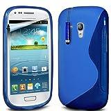Mobile-bits4u SAMSUNG i8190 GALAXY S3 MINI Blue S Wave Gel Case Plus Screen Protector