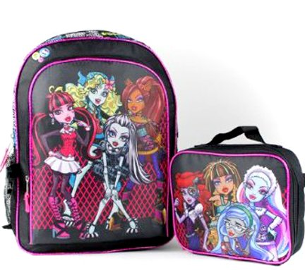 "Monster High 16"" Large School Backpack with Lunch Bag"