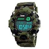 Men's Digital Sports Waterproof Electronic Casual Military Army Wrist Camouflage Strap Watch With PU Leather Band Luminous Watches
