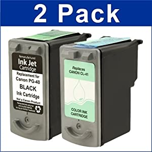 Remanufactured Ink Cartridge Replacement for Canon PG40 0615B002 CL41 0617B002 (1 Black 1 Color 2 Pack)