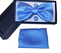 Men's Pre-Tied Bowtie Cufflinks Pocket Square Set for Men Tuxedo Suit Set