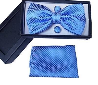 Men's Pre-Tied Bowtie Cufflinks Pocket Square Set for Men Tuxedo Suit Set