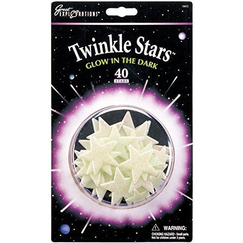 Glow in the Dark Twinkle Glitter Stars - 40 stars per package - Safe For Walls by Hansen - 1