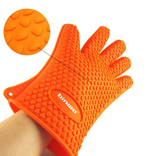 Binwo Heat Resistant BBQ Gloves - Pair of Best Silicone Pot Holders and Oven Mitts for Kitchen Cooking Baking Barbecue-Protective Your Hands-Orange (Silicon Oven Mitts Small compare prices)