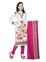 PShopee White & Pink Synthetic Printed Unstitched Salwar Suit Dress Material