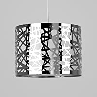Modern Decorative Polished Chrome Effect Lattice Web Metal Cylinder Ceiling Pendant Drum Light Shade by MiniSun
