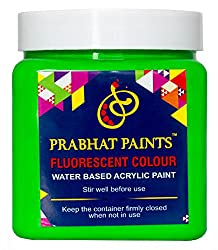 Prabhat Paints Acrylic Fluorescent Paint (500 g, Matt Green,Glows only under UV Tube Light or UV Bulb) (Water based paint)