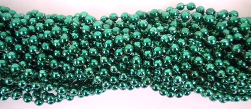 33 inch 07mm Round Metallic Dark Green Mardi Gras Beads - 6 Dozen (72 necklaces)