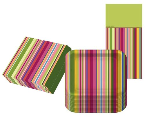 Colorful Stripes Party Kit for 16 - 1