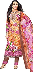 Lebaas Orange and Pink Pakistani Style with Perl Work Straight Suite - Un-stitched (With Discount and Sale Offer)