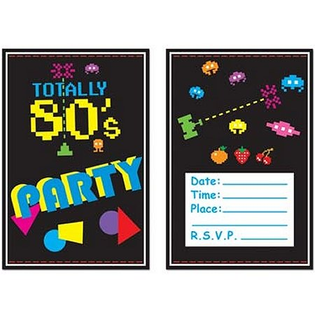 Totally 80's Party Invitations (Pack of 8) card invitations with a video game theme. Includes envelopes.