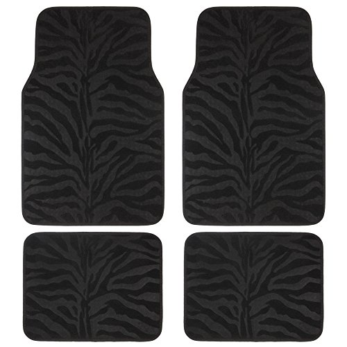 Black Zebra Animal Print Compressed Style Car Truck SUV Front & Rear Seat Car...