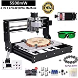 2 IN 1 5.5W Laser Engraver CNC 3018 Pro Engraving Machine, GRBLControl PCB PVC Wood Router CNC 3 Axis Milling Machine with Offline Controller and ER11 and 5mm Extension Rod (CNC 3018 Pro, 5.5W Laser (Color: Black,White, Tamaño: Small)