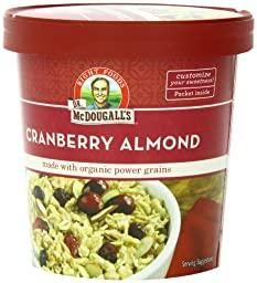 Dr. McDougall\'s Right Foods Non-Dairy Hot Cereal, Cranberry Almond Made With Organic Power Grains, 3.1-Ounce Cups (Pack of 6)