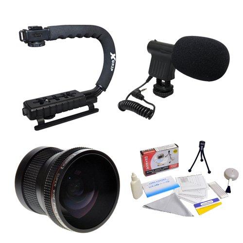 Extreme Shooters Kit Featuring Opteka Hd .20X Professional Super Af Fisheye Lens, Opteka X-Grip Professional Camera Handle, Opteka Vm-8 Mini-Shotgun Microphone And More For Canon Eos 60D, 50D, 40D, 30D, 20D, 7D, 6D, 5D, 1D, Rebel T4I, T3I, T3, T2I, T1I, X