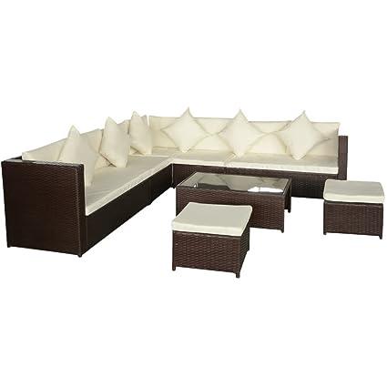 vidaXL Conjunto de sofás de jardín marrón 29 piezas de ratán PE