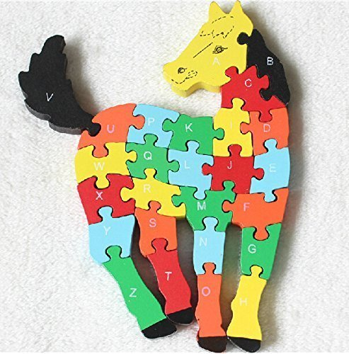 HSE Children's Animal Cognitive wooden Jigsaw Puzzle Three-Dimensional Jigsaw Puzzle Enlightenment 2-4 Years Old Baby Preschool Educational Toy Building Blocks Also As a Christmas and Birthday Gift- Horse