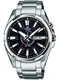 Edifice Men's Quartz Watch with Black Dial Analogue Display and Silver Stainless Steel Bracelet EFR-102D-1AVEF
