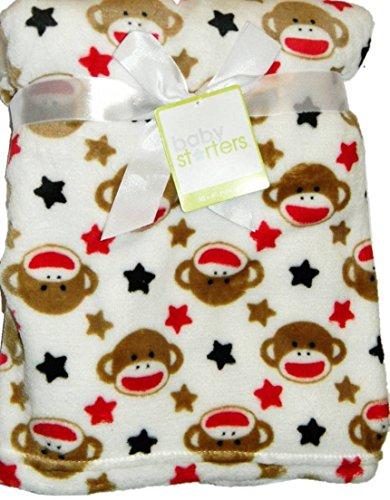 "Baby Starters Sock Monkey & Stars 30"" x 40"" Fleece Blanket"