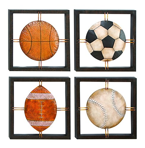 Benzara Metal Wall Plaque Assorted Specially Made For Ball Lovers, Set Of 4 front-611259