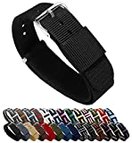 Barton Watch Bands - Choice of Color, Length & Width (18mm, 20mm, 22mm Or 24mm) - Ballistic Nylon Straps