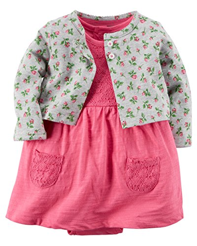 Carter's Baby Girls' 2 Piece Floral Dress Set Grey Flowers/Pink Lace-18M