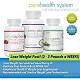 Pure Health System for Weight Loss with Raspberry Ketone, Green Coffee Bean Extract, and Acai, Mangosteen, and Goji Super Fruit Supplements by PureMozee