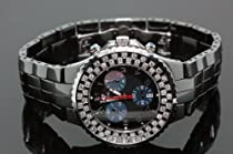 Aqua Master Unisex Black Ceramic Diamond Watch