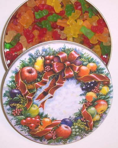 Scott's Cakes Gummie Bears in a Mini Christmas Wreath Tin