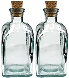 8oz Square Clear Bottle with Cork, Easy Pour Glass Oil Storage Bottles (Set of 2)
