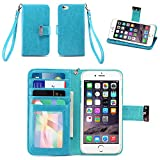 IZENGATE Apple iPhone 6 (4.7 inch) Wallet Case – Executive Premium PU Leather Flip Cover Folio with Stand (Turquoise Blue)