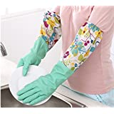 Household Long Cleaning Glove Laundry Gloves,Thicken PU Waterproof Dishwashing Gloves Kitchen Cleaning Warm Gloves ,1 Pair (Green Sun Flower)