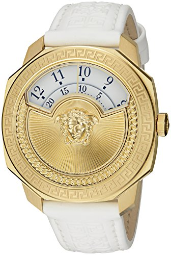 Versace-Womens-Dylos-Icon-Swiss-Quartz-Stainless-Steel-and-White-Leather-Casual-Watch-Model-VQU010015