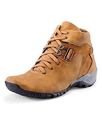 Red Rose Men's Tan Synthetic Leather Casual Shoes For Men