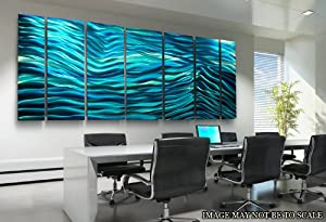 Extra Large Modern Metal Abstract Wall Art Sculpture Aqua Blue Wave II XL by Jon Allen