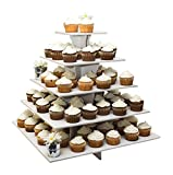 """The Smart Baker 5 Tier Square Cupcake Stand PRO- Holds 100+ Cupcakes """"As Seen on Shark Tank"""" Cupcake Tower for Professional Use"""
