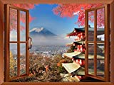 Wall26 - Modern Copper Window Looking Out Into a Shrine with Mount Fuji on the Background - Wall Mural, Removable Sticker, Home Decor - 36x48 inches