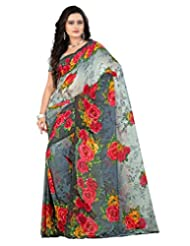 Lookslady Casual Wear Grey Printed Chiffon Saree