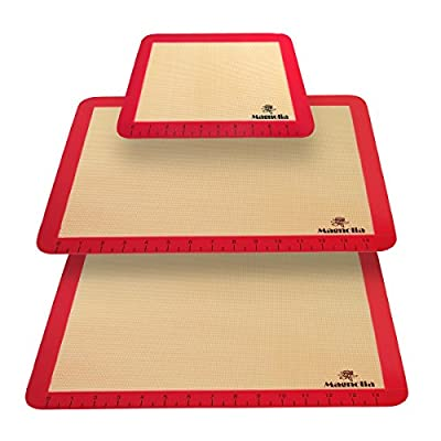Silicone Baking Mat Set (3) 2 Half Sheets + 1 Qtr Sheet - Professional Grade Non Stick Cookie Sheet - Super Strong Quality- By Magnolia
