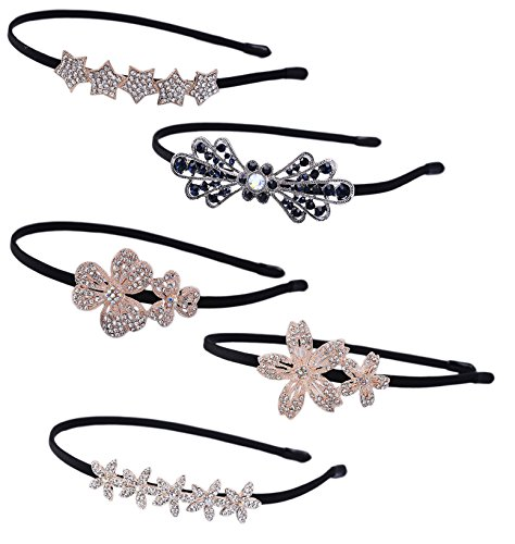 LiveZone 5-Style(5-Pcs) Lady Women Girls Elegent Hair Head Accessories Ornaments Crystal Hair Band/Hair Hoop Beautiful Lovely Head Band Wear Headbands Headdress Headwrap ,Flowers Bow and Stars Shape (Head Bun compare prices)