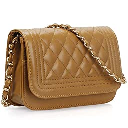 BMC Womens Chocolate Brown PU Faux Leather Diamond Quilted Pattern Mini Handbag Shoulder Strap Clutch