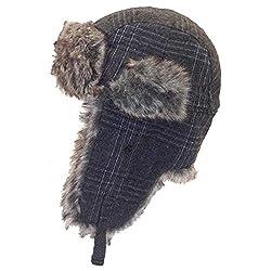 Plaid Charcoal Wool Faux Fur Trooper Aviator Earflap Trapper Hat