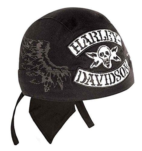 Harley-Davidson Men's Winged Rocker Skull Head Wrap, Stone Washed Black HW11430 (Harley Skull Cap compare prices)