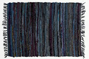 6' x 9' Country Rag Rug in Denim Blue