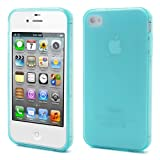 iPhone 4 Case, Light Blue Loggerhead® Frosted Flexible Slim Fit Protective TPU Case Cover for Apple iPhone 4 4s - Retail Packaging
