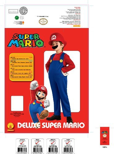 Super Mario Brothers, Deluxe Mario Costume, Small Color: As Shown Size: Small (4-6) Toy, Kids, Play, Children front-761887