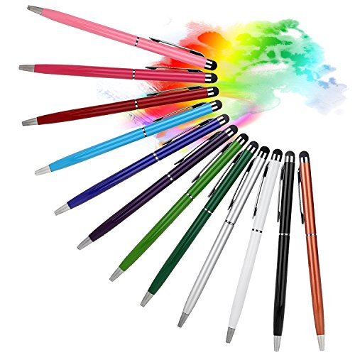 Stylus Pens for Touch Screens, 12 X Dealgadgets Universal Stylus Pen for iPhone 6/6 Plus 5/5S,iPad Air,iPad Mini,Android Smart Phone and All Touch screen Devices (Black,purple,dark Red,red,rose,pink,brown,green,blue,sky Blue,white,silver) (12 colors)