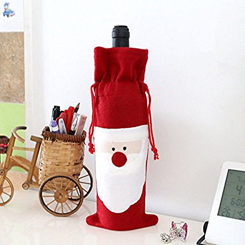 megadream 5 teiliges santa claus weihnachten rot wein flasche tasche h lle dinner party tisch. Black Bedroom Furniture Sets. Home Design Ideas
