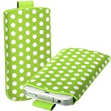 Direct-2-Your-Door - Huawei Ascend G300 Polka Dot Premium PU Leather Pull Tab Flip Case Cover Pouch - Green